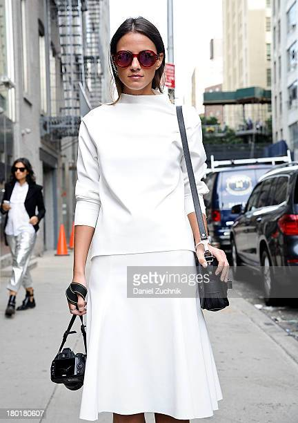Xena is seen outside the Donna Karan New York show wearing a Zara top with skirt Proenza Schouler bag and Marc Jacobs sunglasses on September 9 2013...