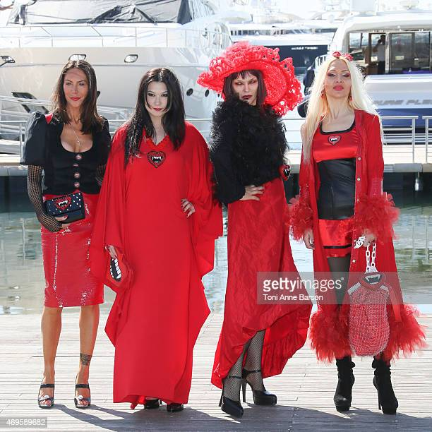 Xena Zupanic Mira Bergmann Violetta Smikalina and Uthe Bacher attend 4 Suckers Photocall as part of MIPTV 2015 on April 13 2015 in Cannes France