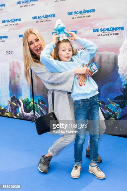 Xenia Seeberg and her son PhilippElias attend the 'Die Schluempfe Das verlorene Dorf' Berlin Premiere at Sony Centre on April 2 2017 in Berlin Germany