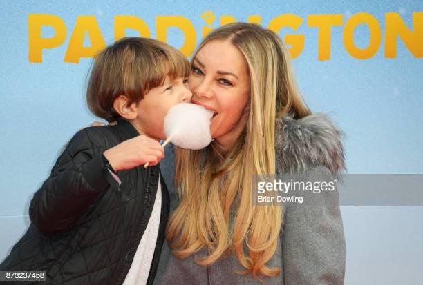 Xenia Seeberg and son PhilipElias Martinek attend the 'Paddington 2' premiere at Zoo Palast on November 12 2017 in Berlin Germany