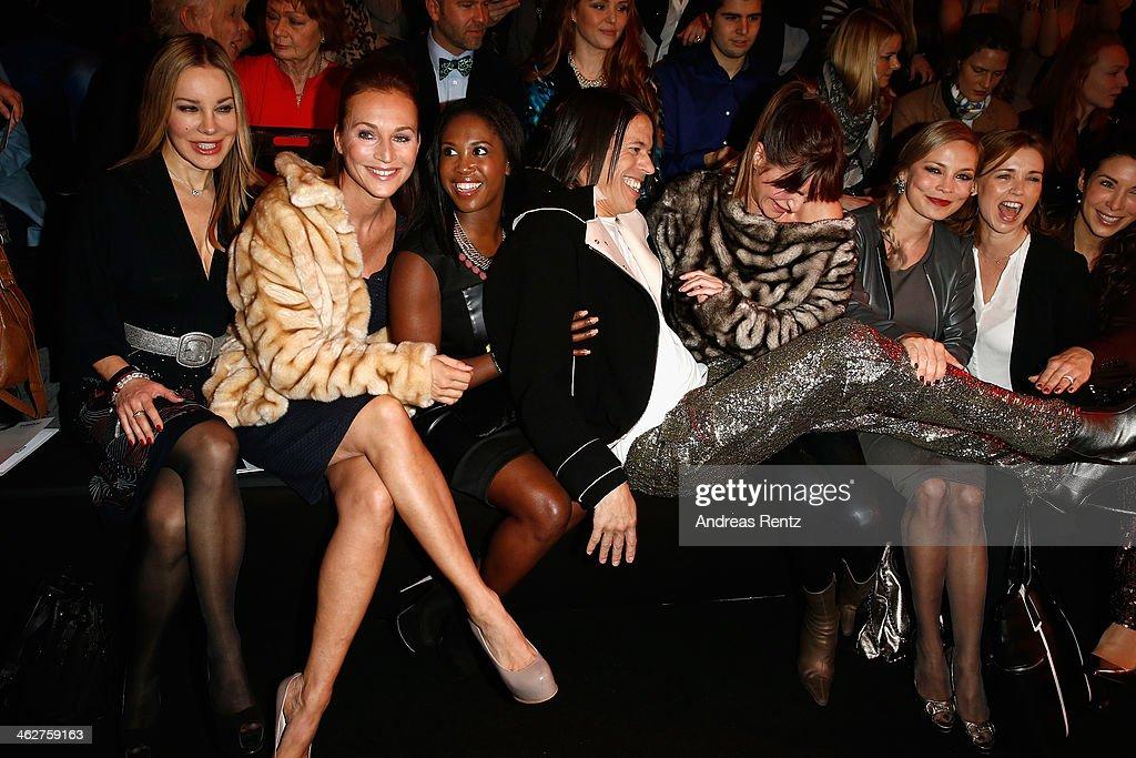 Xenia Seeberg Caroline Beil Motsi Mabuse Jorge Gonzalez Alexandra Kamp Regina Halmich and Tina Ruland attend the Minx by Eva Lutz show during...