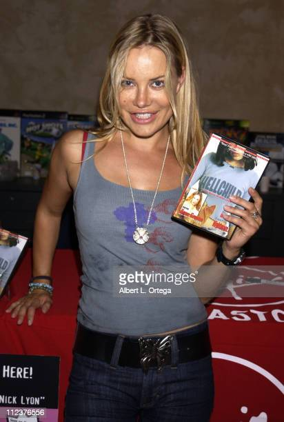 Xenia Seeberg of the SciFi series 'Lexx' signs copies of her latest DVD ' Hellchild'