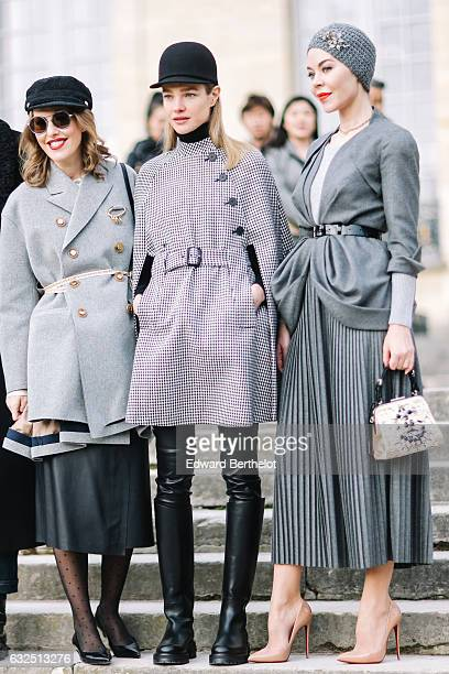 Xenia Sobchak Natalia Vodianova and Ulyana Sergeenko attend the Christian Dior Haute Couture Spring Summer 2017 show as part of Paris Fashion Week at...