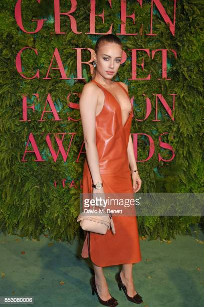 Xenia Tchoumi attends the Green Carpet Fashion Awards Italia wearing Tod's for the Green Carpet Challenge at Teatro Alla Scala on September 24 2017...