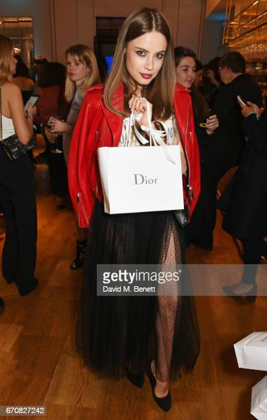 Xenia Tchoumi attends the launch of the Dior Pump 'N' Volume Mascara with Dior spokesmodel Bella Hadid at Selfridges on April 20 2017 in London...