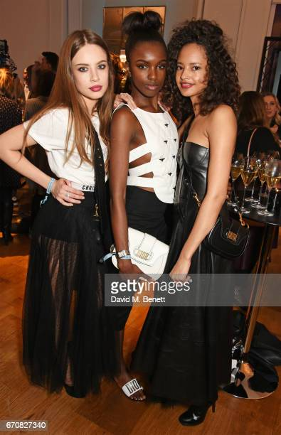 Xenia Tchoumi Leomie Anderson and Malaika Firth attend the launch of the Dior Pump 'N' Volume Mascara with Dior spokesmodel Bella Hadid at Selfridges...