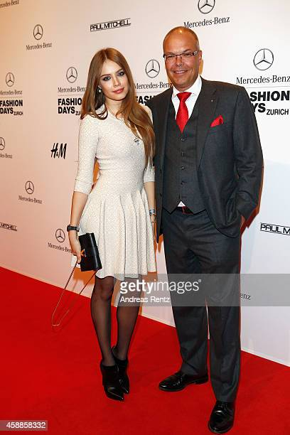 Xenia Tchoumitcheva and Marcel Guerry attend the MercedesBenz Opening Night during the MercedesBenz Fashion Days Zurich 2014 on November 12 2014 in...