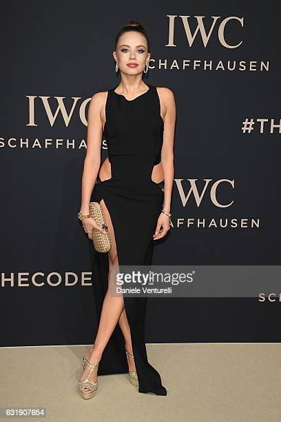 Xenia Tchoumitcheva arrives at IWC Schaffhausen at SIHH 2017 'Decoding the Beauty of Time' Gala Dinner on January 17 2017 in Geneva Switzerland
