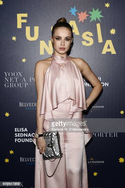 Xenia Tchoumitcheva attends Elisa Sednaoui Foundation and Yoox Net a Porter Event on March 28 2017 in Milan Italy