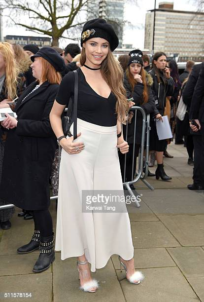 Xenia Tchoumitcheva attends the Topshop Unique show during London Fashion Week Autumn/Winter 2016/17 at Tate Britain on February 21 2016 in London...