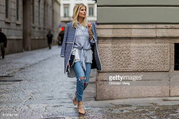 Xenia van der Woodsen wearing Zara Coat and button shirt Abercombie ripped jeans Lido shoes and a Celine bag seen outside during Milan Fashion Week...