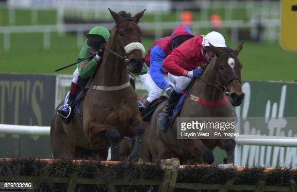 Xenophon ridden by Mick Fitzgerald jumps the last before Camden Tanner ridden by Davey Russell to win the Pierse Leopardstown Handicap Steeplechase...