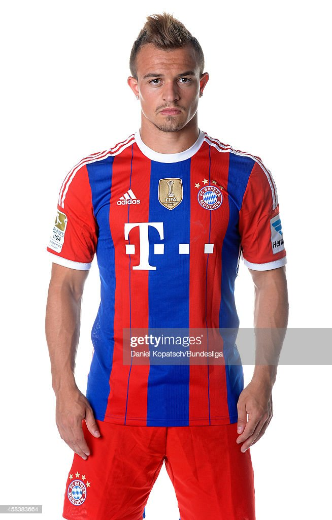 Xerdan Shaqiri poses during the FC Bayern Muenchen Team Presentation for DFL on August 9, 2014 in Munich, Germany.