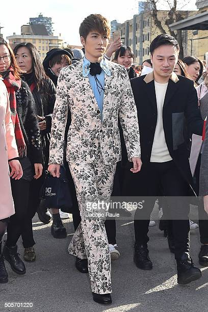 Xeudong Chen arrives at the Gucci show during Milan Men's Fashion Week Fall/Winter 2016/17 on January 18 2016 in Milan Italy