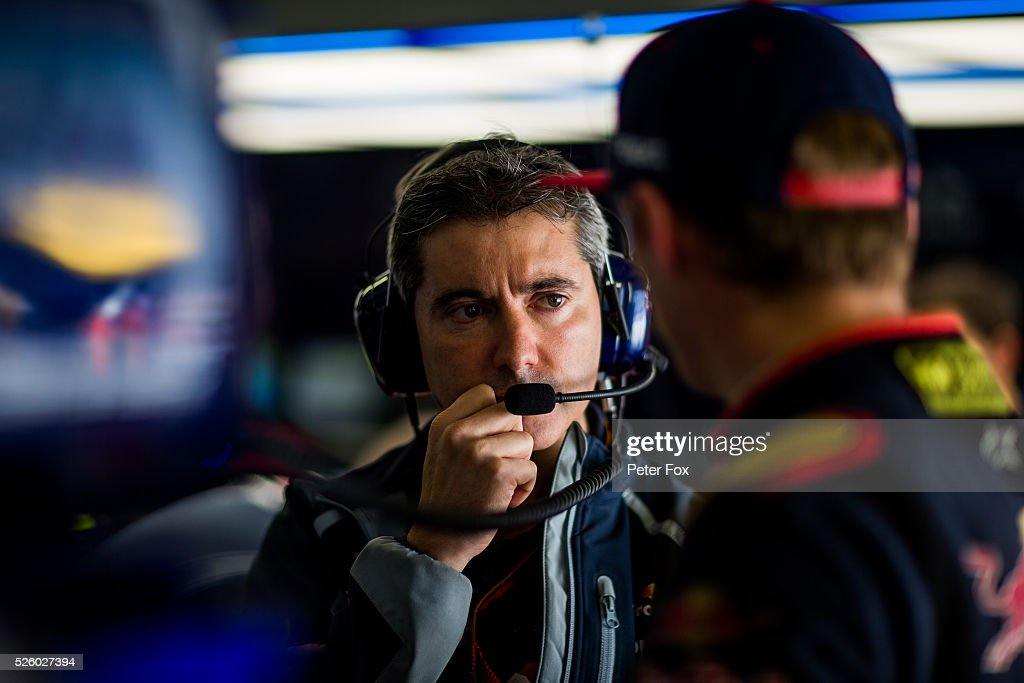 Xevi Pujolar of Scuderia Toro Rosso and Spain during practice for the Formula One Grand Prix of Russia at Sochi Autodrom on April 29, 2016 in Sochi, Russia.