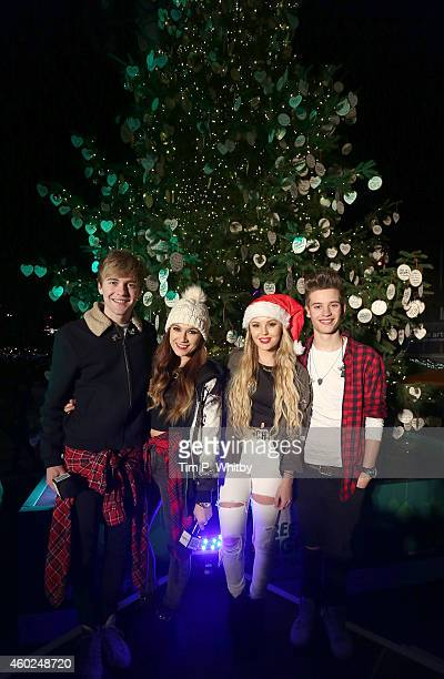 Factor contestants Parisa Tarjomani Mikey Bromley BetsyBlue English and Charlie George of Only The Young pose for a photo during the official opening...