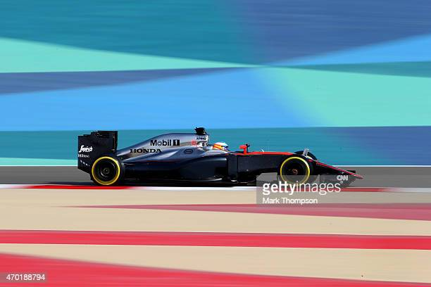 xFernando Alonso of Spain and McLaren Honda drives during final practice for the Bahrain Formula One Grand Prix at Bahrain International Circuit on...