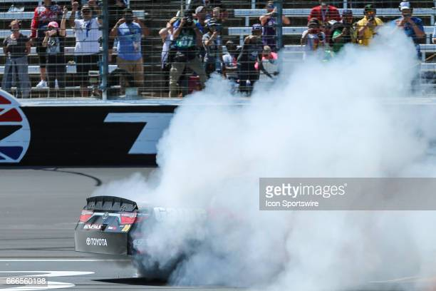 Xfinity Series driver Erik Jones does a burnout after winning the NASCAR Xfinity Series Bariatric Solutions 300 on April 08 2017 at the Texas Motor...