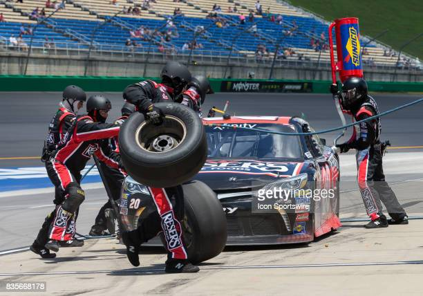 Xfinity Series driver Erik Jones makes a pit stop during the Alsco 300 on July 8 2017 at Kentucky Speedway in Sparta KY