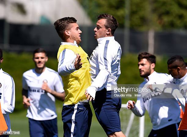Xherdan Shaqiri and George Puscas during FC Internazionale training session at the club's training ground at Appiano Gentile on May 02 2015 in Como...