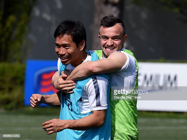 Xherdan Shaqiri and Yuto Nagatomo during FC Internazionale training session at the club's training ground at Appiano Gentile on April 15 2015 in Como...