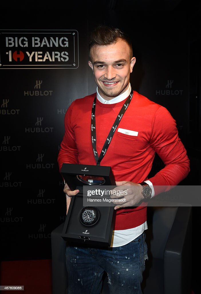 <a gi-track='captionPersonalityLinkClicked' href=/galleries/search?phrase=Xherdan+Shaqiri&family=editorial&specificpeople=6923918 ng-click='$event.stopPropagation()'>Xherdan Shaqiri</a> attends a Hublot press conference to mark the 10th Anniversary of the iconic Big Bang Collection at the Baselworld 2015 on March 23, 2015 in Basel, Switzerland.