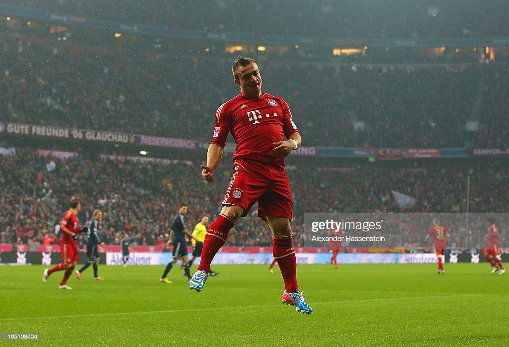 Xherdan Shaqiri of Bayern Muenchen celebrates scoring the opening goal during the Bundesliga match between FC Bayern Muenchen and Hamburger SV at Allianz Arena on March 30, 2013 in Munich, Germany.
