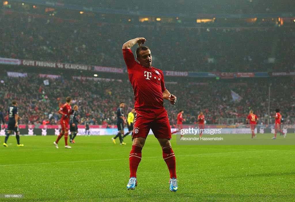 Xherdan Shaqiri of Bayern Muenchen celebrates scoring the opening goal during the Bundesliga match between FC Bayern Muenchen and Hamburger SV at Allianz Arena on March 30, 2013 in Munich, Germany.