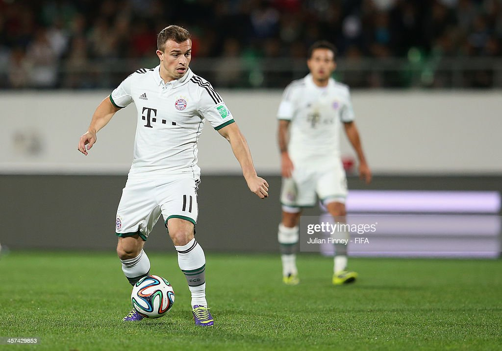 Xherdan Shaqiri of Bayern Muenchen in action during the FIFA Club World Cup Semi Final match between Guangzhou Evergrande FC and Bayern Muenchen at the Agadir Stadium on December 17, 2013 in Agadir, Morocco.