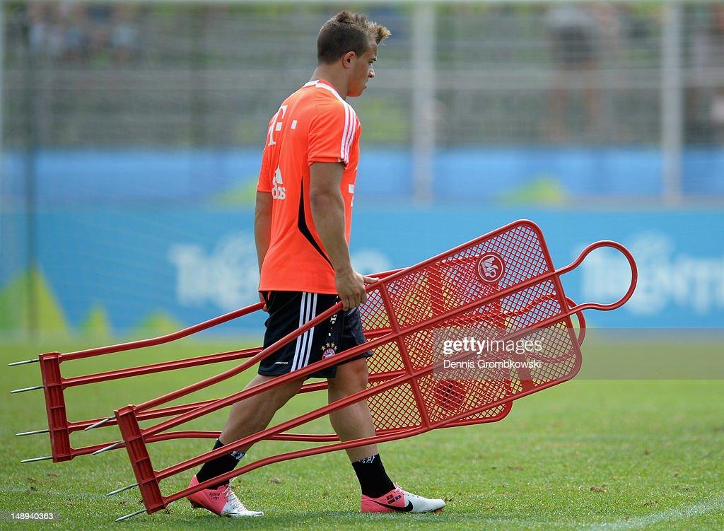 Xherdan Shaqiri of Bayern walks on the pitch during day six of the Bayern Muenchen preseason training camp at Arco Stadium on July 20 2012 in Arco...