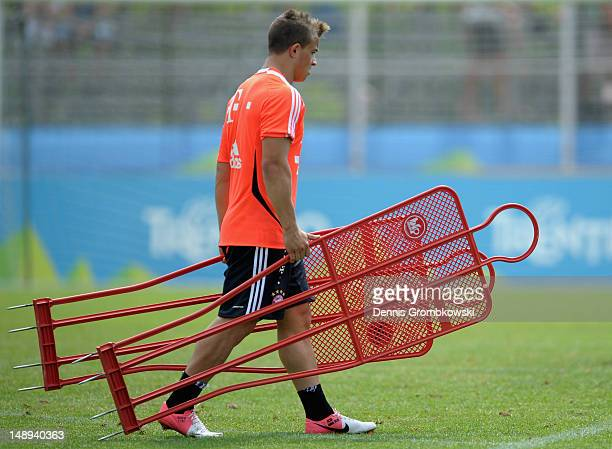 Xherdan Shaqiri of Bayern walks on the pitch during day six of the Bayern Muenchen preseason training camp at Arco Stadium on July 20 2012 in Arco...