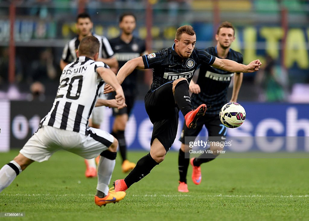 Xherdan Shaqiri of FC Internazionale in action during the Serie A match between FC Internazionale Milano and Juventus FC at Stadio Giuseppe Meazza on May 16, 2015 in Milan, Italy.