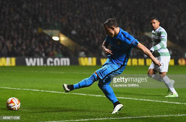 Xherdan Shaqiri of Inter Milan scores their first goal during the UEFA Europa League Round of 32 first leg match between Celtic FC and FC...