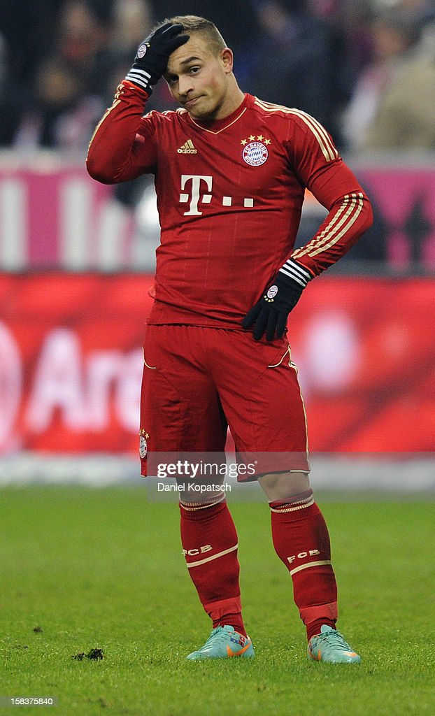 Xherdan Shaqiri of Muenchen reacts after the Bundesliga match between FC Bayern Muenchen and VfL Borussia Moenchengladbach at Allianz Arena on December 14, 2012 in Munich, Germany.