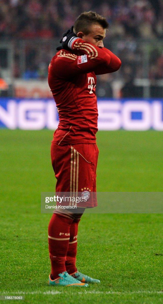 Xherdan Shaqiri of Muenchen reacts during the Bundesliga match between FC Bayern Muenchen and VfL Borussia Moenchengladbach at Allianz Arena on December 14, 2012 in Munich, Germany.