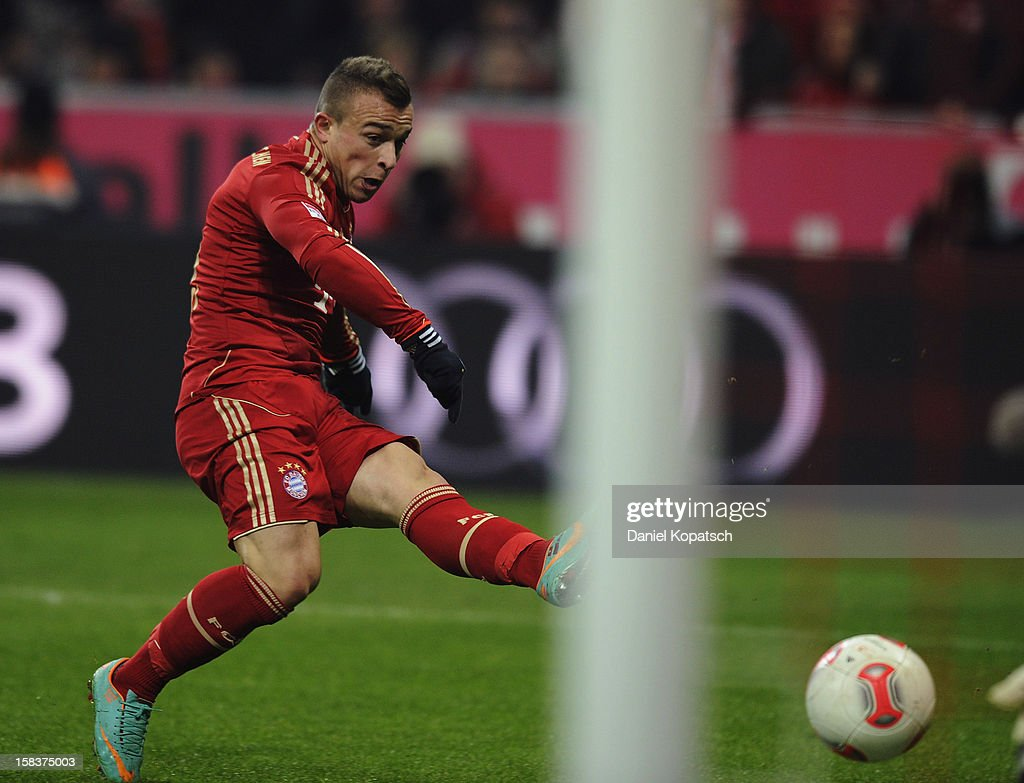 Xherdan Shaqiri of Muenchen scores his team's first goal during the Bundesliga match between FC Bayern Muenchen and VfL Borussia Moenchengladbach at Allianz Arena on December 14, 2012 in Munich, Germany.