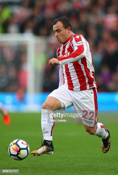 Xherdan Shaqiri of Stoke City during the Premier League match between Stoke City and Southampton at Bet365 Stadium on September 30 2017 in Stoke on...