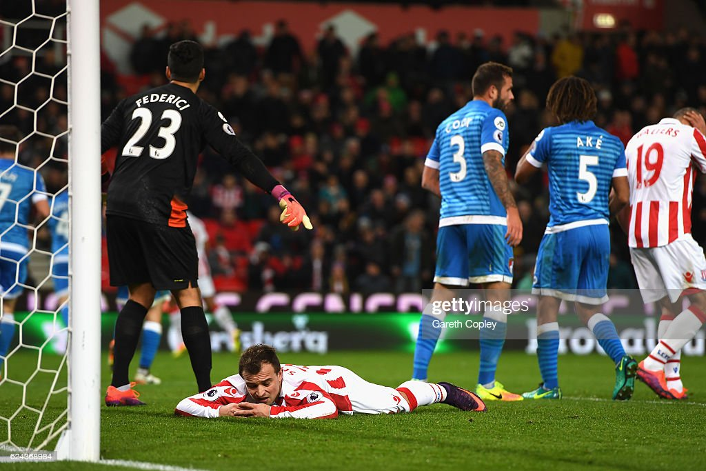 Xherdan Shaqiri of Stoke City reacts during the Premier League match between Stoke City and AFC Bournemouth at Bet365 Stadium on November 19, 2016 in Stoke on Trent, England.
