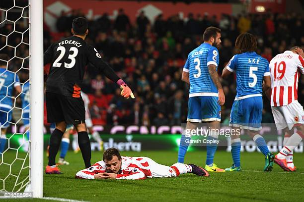 Xherdan Shaqiri of Stoke City reacts during the Premier League match between Stoke City and AFC Bournemouth at Bet365 Stadium on November 19 2016 in...
