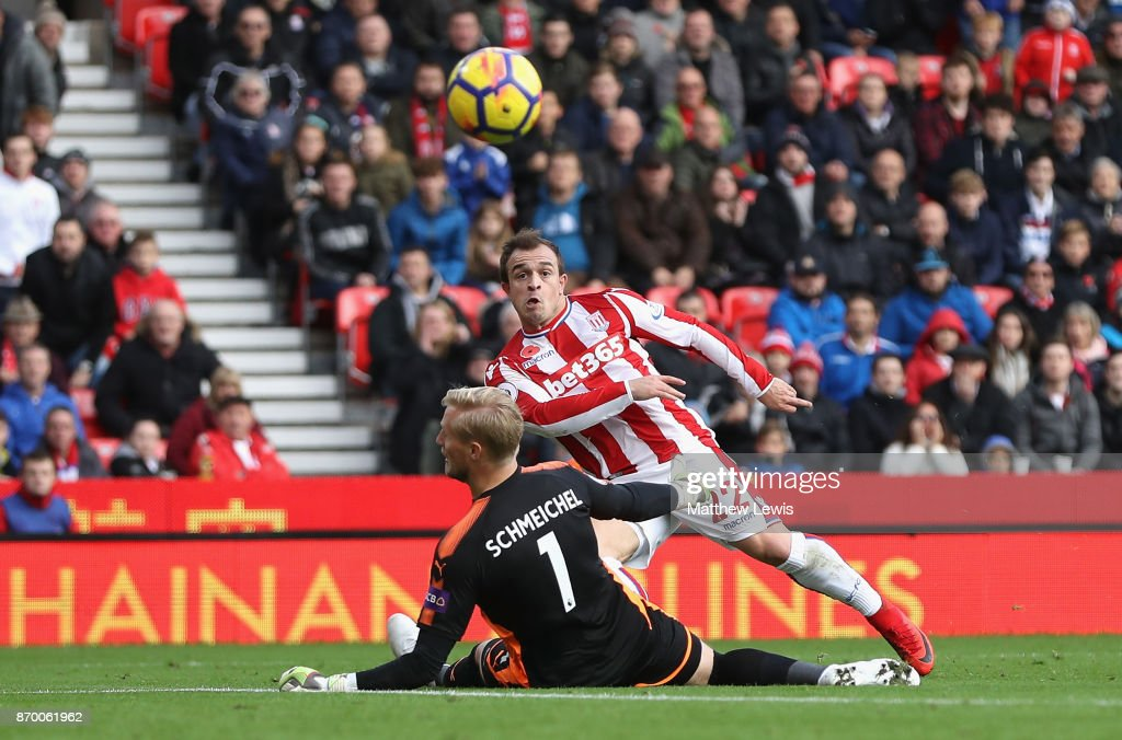 Xherdan Shaqiri of Stoke City scores his sides first goal during the Premier League match between Stoke City and Leicester City at Bet365 Stadium on November 4, 2017 in Stoke on Trent, England.