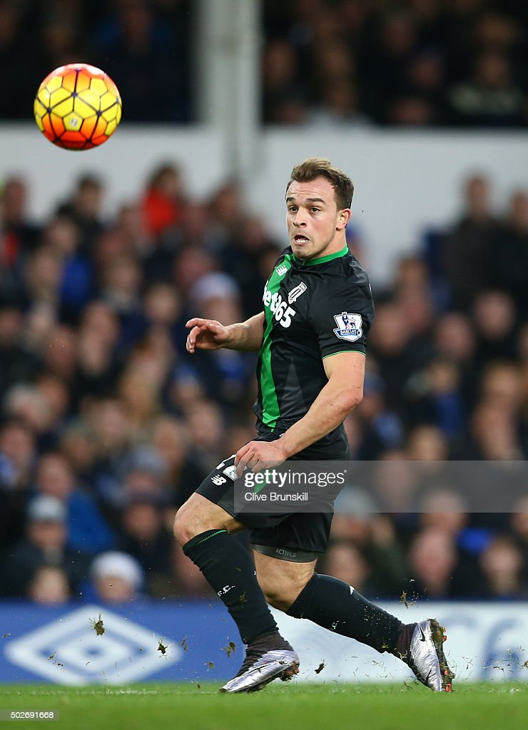 Xherdan Shaqiri of Stoke City scores his team's second goal during the Barclays Premier League match between Everton and Stoke City at Goodison Park on December 28, 2015 in Liverpool, England.