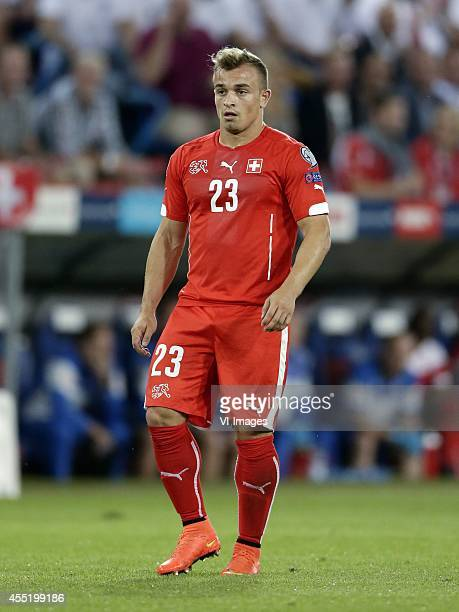 Xherdan Shaqiri of Switzerland during the EURO 2016 qualifying match between Switzerland and England on September 8 2014 at the St Jakobpark in Basel...