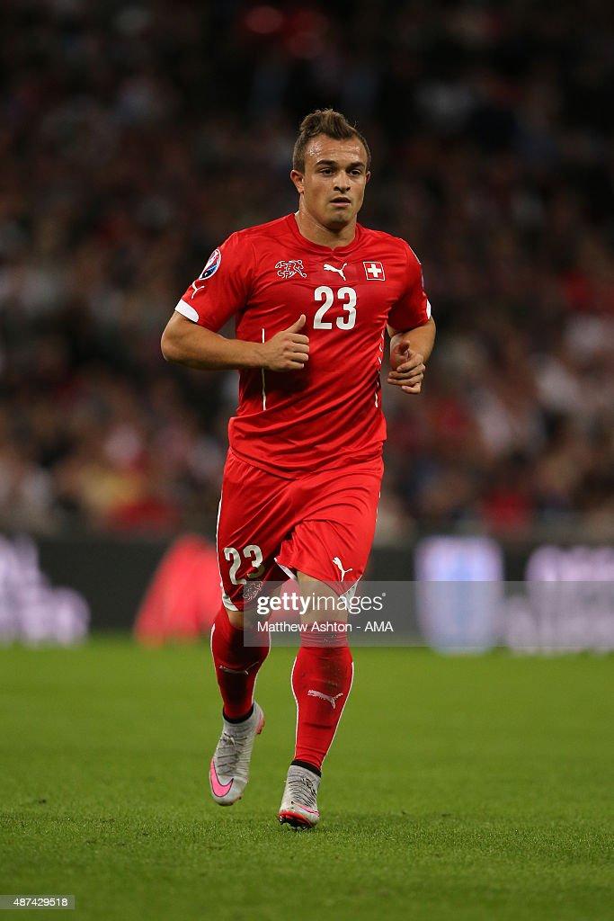 Xherdan Shaqiri of Switzerland during the UEFA EURO 2016 Qualifier Group E England v Switzerland on September 8 2015 in London United Kingdom