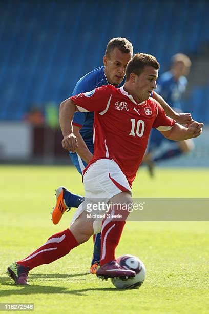 Xherdan Shaqiri of Switzerland during the UEFA European Under21 Championship Group A match between Switzerland and Iceland at the Aalborg Stadium on...