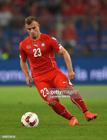 Xherdan Shaqiri of Switzerland in action during the UEFA EURO 2016 Qualifier match between Switzerland and England on September 8 2014 in Basel...