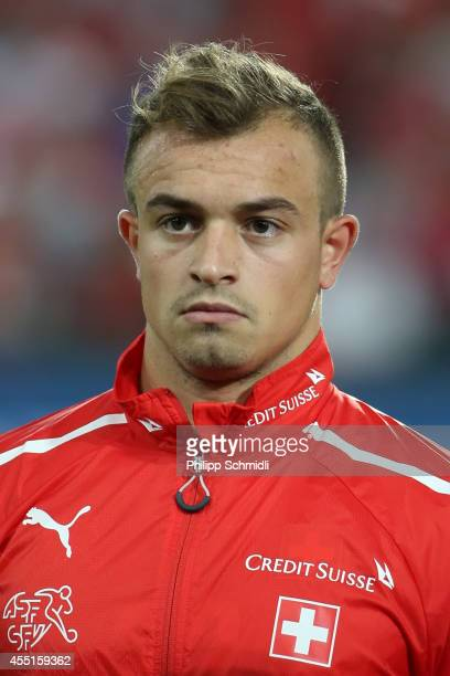 Xherdan Shaqiri of Switzerland lines up prior to the EURO 2016 Qualifier match between Switzerland and England on September 8 2014 in Basel...