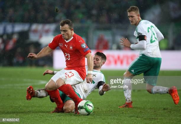 Xherdan Shaqiri of Switzerland Oliver Norwood of Northern Ireland during the FIFA 2018 World Cup Qualifier PlayOff Second Leg between Switzerland and...