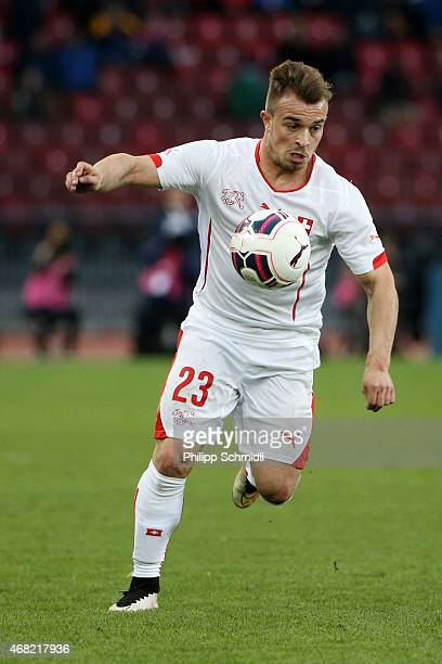Xherdan Shaqiri of Switzerland runs with the ball during the international friendly match between Switzerland and the United States at Stadium...
