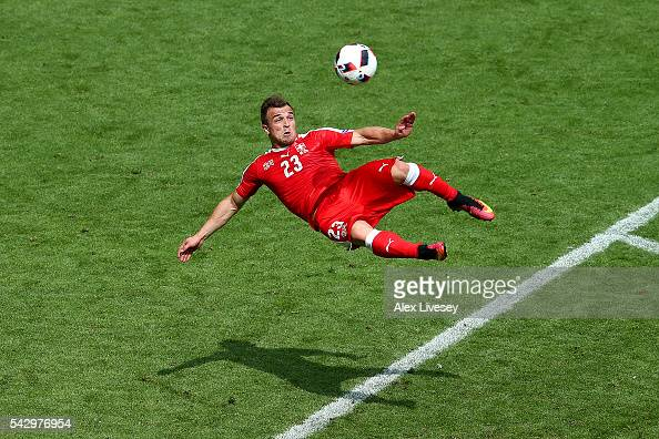 Xherdan Shaqiri of Switzerland scores his team's first goal during the UEFA EURO 2016 round of 16 match between Switzerland and Poland at Stade...