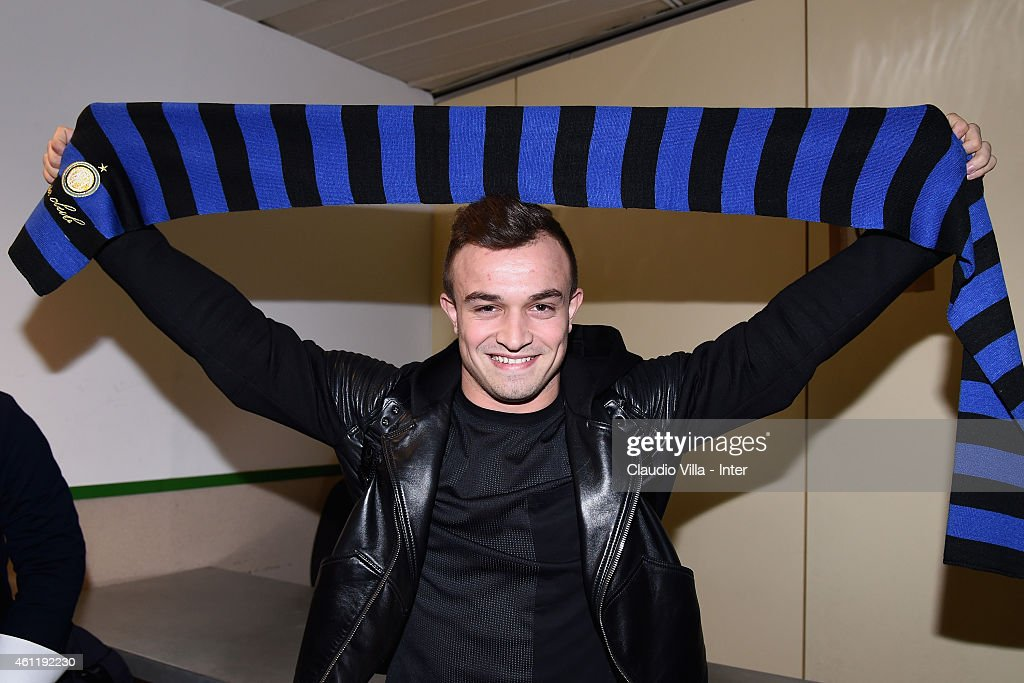 <a gi-track='captionPersonalityLinkClicked' href=/galleries/search?phrase=Xherdan+Shaqiri&family=editorial&specificpeople=6923918 ng-click='$event.stopPropagation()'>Xherdan Shaqiri</a>, who is set to join F.C. Internazionale Milano, arrives at Malpensa Airport on January 8, 2015 in Milan, Italy.